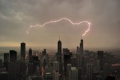 lightning, tower, lighting, ghostbusters, buildings, pink, storms, chicago, the city