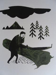 Lonesome woodcutter screenprint