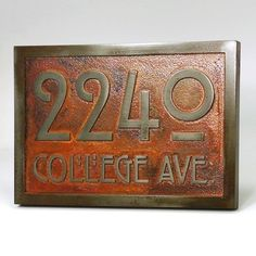 "Stickley Address Plaque Home Numbers Bungalow Sign with Very Cool Font 12.5x8.75 inches    This Address Plaque Oozes Craftsman style.    Could it be the font? Arts and Craft, Craftsman, Mission, Bungalow, Prairie, and Mid-Century style homes are great candidates for a dose of architectural style that really fits.     Size Listed: 1"" thick and 12.5"" W x 8.75"" H - up to 4 - 4"" numbers"