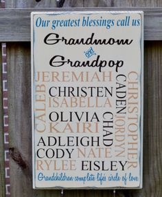 Personalized GRANDPARENT Sign - with Grandchildren's Names - Custom Wood Sign - Christmas Gift - Anniversary Gift