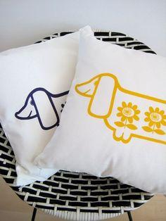 print pillow, sausage dogs, babi dog, print babi, dachshunds, dachshund print, baby dogs, pillows, dachshund pillow