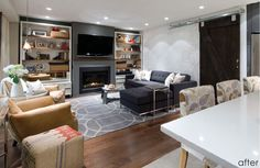 Love the floor, rug, walls, lights- everything except the uphostery on the tall chairs. Candace Olsen design