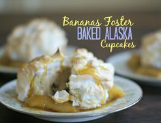 Are you looking for the perfect summer indulgence? This gluten free Bananas Foster Baked Alaska will impress your taste buds and your guests this summer. #NewFavorites #bakedalaska #cupcakes