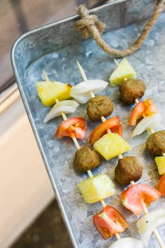 Instead of burgers at your next tailgate, grab you favorite meat and veggies and serve up some savory shish kabobs.