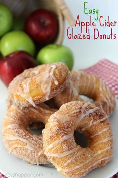 Easy Apple Cider Glazed Donuts Recipe. So Simple using Pillsbury Grands Biscuits! Perfect fall donut for breakfast or for dessert. YUM! It's finally cider season.