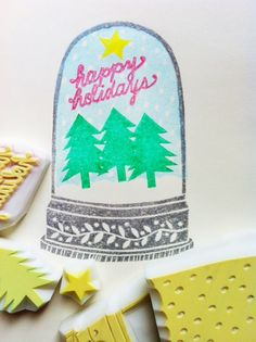 snow globe rubber stamp happy holidays