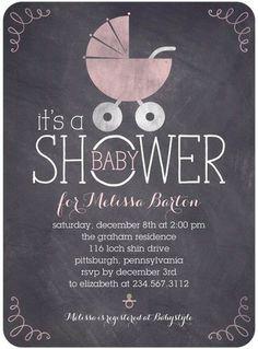 Chalkboard Buggy - Baby Shower Invitations - Sarah Hawkins Designs - Blush Pink with #chalkboard design. #babyshower