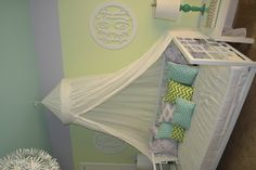 Current Project: Updating Kids Bedrooms at SML.  Aqua + Lilac + Pale Lime Green reading nook at lake house for two girls.