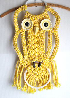 vintage macrame OWL towel rack // yellow wall
