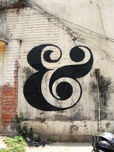 ampersand graffiti old buildings, letter, font, environmental graphics, street art, mural, design, typographi, ampersand