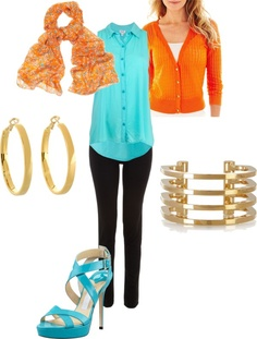 """Clear Bright Spring Casual Outfit Idea - Turquoise, Orange and Black"" by jen-thoden on Polyvore"