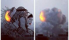 Artist turns images of Israeli bombings in Gaza into art
