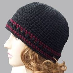 This easy crochet hat has a touch of color. Single Crochet Beanie - Media - Crochet Me