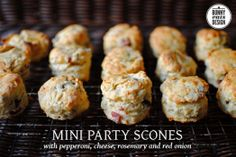Mini Party Scones with pepperoni, parmesan, cheese, red onion and herbs. Cheap and easy filler for your next party. Serve hot or cold.