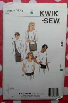 OOP Kwik Sew 2831 Pattern, Bags in 4 Styles,  SEALED