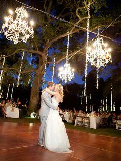 Outside wedding chandeliers
