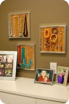 Here's a super easy idea for a jewelry organizer.  .What you need:- frames- cork tiles (the ones I used are actual cork floor tiles I got from work, but you can purchase cork tiles @ Target in the office supply section by the bulletin boards)- T-pins or other push pins- metal ruler or straight edge- utility knife