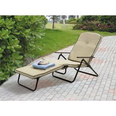 Mainstays Sand Dune Outdoor Padded Folding Chaise Lounge, Tan: Patio Furniture : Walmart.com $69