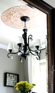 light fixtures, chandeliers, master bedrooms, ceiling detail, ceiling medallions, paint, ceilings, stencil, upstairs bathrooms