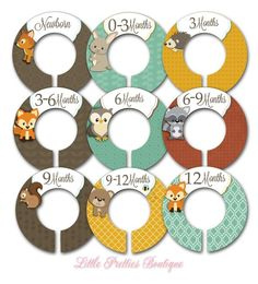 Set of Nine Forest Friends Themed Assembled Closet Dividers forests, mandi babi, friend babi, forest friends, closets, babi closet, closet organ, babi room, babi stuff