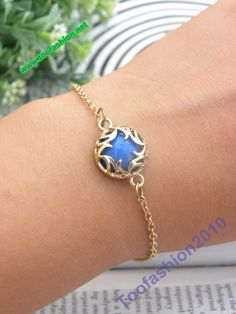 Pretty retro gold blue fire hand chain bracelet by toofashion2010, $3.99
