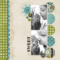 I love the circles in coordinating patterned papers. I also like how the circle and flower themes show up in the whole layout.