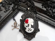 gothic victorian skeleton cameo necklace