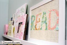 diy wallart, wall art, idea, diy crafts, fabric word, 52 mantel, word art, tutori craft, art tutorials