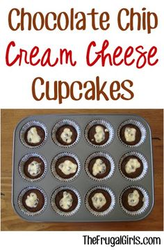 Chocolate Chip Cream Cheese Cupcakes Recipe from TheFrugalGirls.com