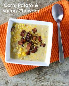 potato chowder, bacon for a crowd, potatoes, chowders, recip, soup, potato bacon chowder, corn
