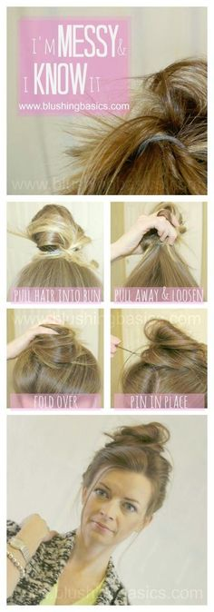 Messy Bun Tutorial from Kristie Burnett via Blushing Basics