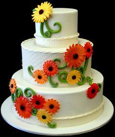Gerber Daisy Wedding Cake by Pink Cake Box