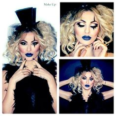 nothing better than blue lipstick, a top hat and black lace. lovely