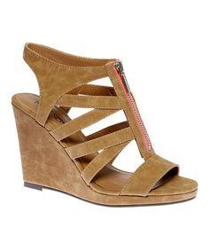 Loving this Tan Glennaa Wedge Sandal on #zulily! #zulilyfinds