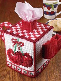 Plastic Canvas - Tissue Topper Patterns - Boutique-Style Patterns - Cozy Cherry Teapot