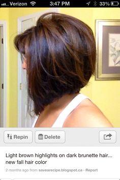 Light brown highlights on dark hair