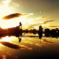 sunset, river clyde