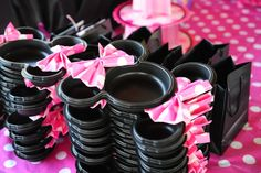 Fold the napkins into bows. How cute!