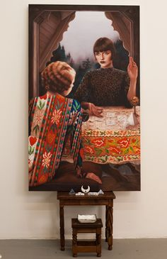 """Alison Blickle: Hand of the Philospher, oil on canvas & ceramics, 2013. From """"History of Magic, Part 1… The Hermitage"""""""