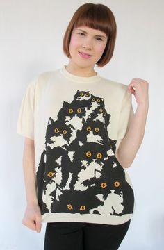 Cream Short Sleeve Kitty Sweater