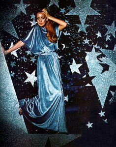 Jerry Hall modeling for Vogue Patterns magazine, 1975