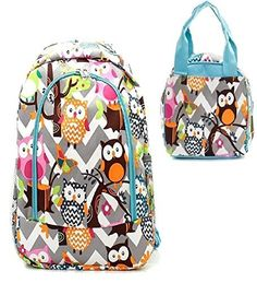 Back to School Owl Print Grey Chevron Blue Trim Backpack W Matching Lunch Bag Price : $41.99
