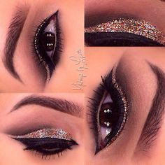 Glitter cut crease look