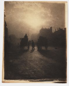 A platinum print photograph entitled 'Hansom Cab in Trafalgar Square', by W J Warren, c. 1898.