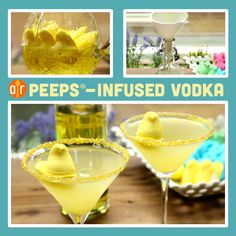 Peeps-Infused Vodka | Can't get enough Peeps? Enjoy the marshmallow-flavored treat in cocktail form. Hint: The yellow color fits right in with a lemon drop martini. Don't forget to garnish with an extra Peep!