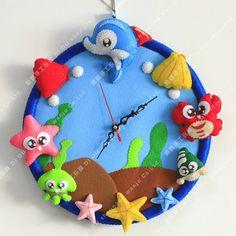 clock wall, seas, felt clock, felt craft, wall clocks