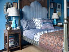 blue rooms, moroccan bedroom, elle decor, headboards, lamp, master bedrooms, textile design, blues, john robshaw