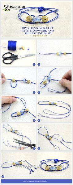 Hand beaded jewelry- DIY string bracelet with lampwork and rhinestone bead from pandahall.com
