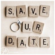 save the date: Love the scrabble tiles and ring!