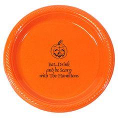 Personalized Pumpkin Plastic Plates  @studioNotes